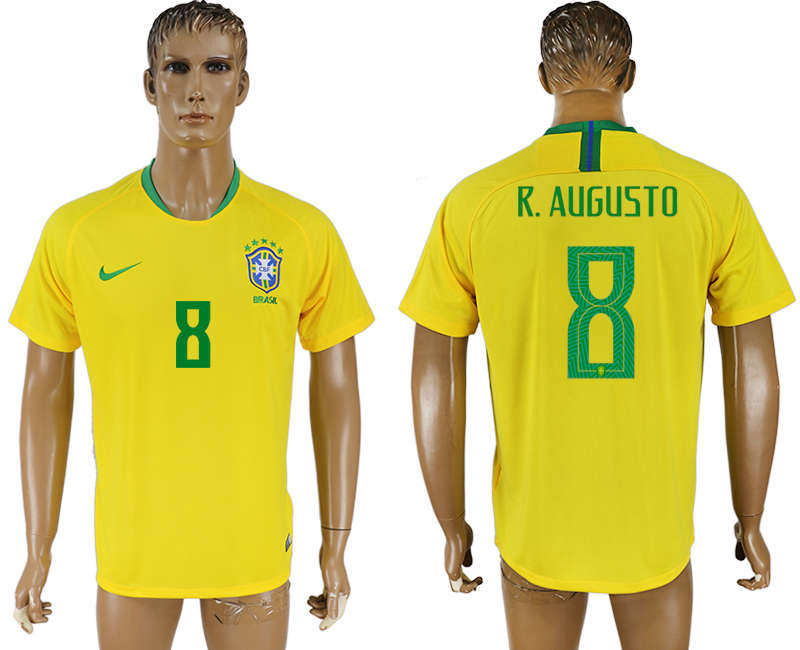 Men 2018 World Cup Brazil home aaa version 8 yellow soccer jersey