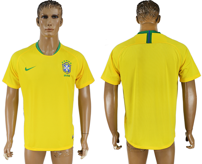 Men 2018 World Cup Brazil home aaa version yellow soccer jersey