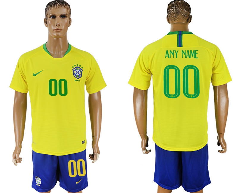 Men 2018 World Cup Brazil home customized yellow soccer jersey