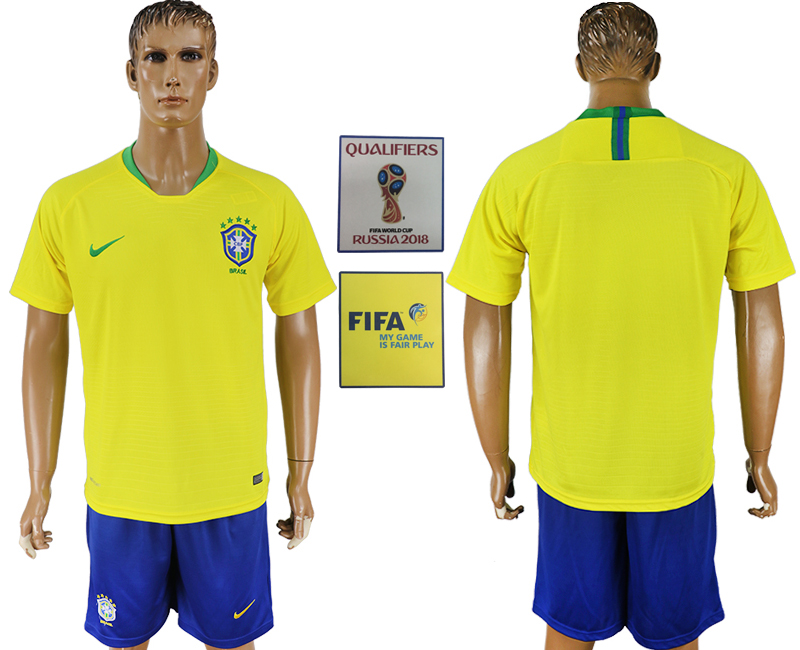 Men 2018 World Cup Brazil home yellow soccer jersey