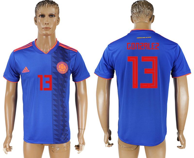 Men 2018 World Cup Columbia away aaa version 13 blue soccer jersey