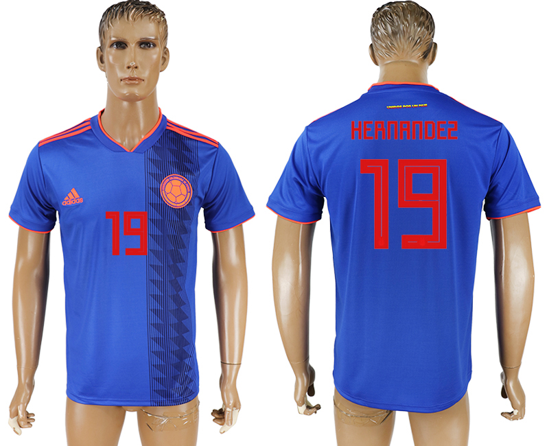Men 2018 World Cup Columbia away aaa version 19 blue soccer jersey