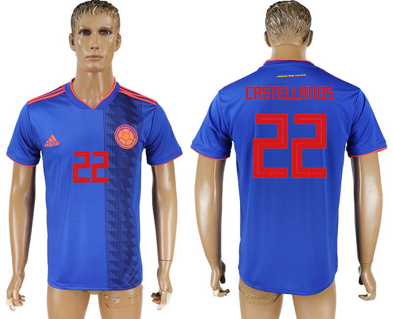 Men 2018 World Cup Columbia away aaa version 22 blue soccer jersey