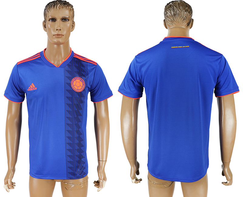 Men 2018 World Cup Columbia away aaa version blue soccer jersey