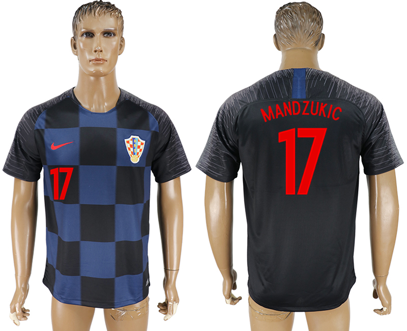 Men 2018 World Cup Croatia away aaa version 17 blue soccer jersey