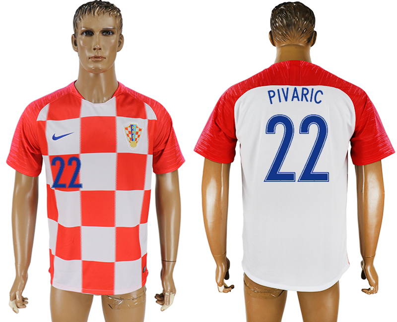 Men 2018 World Cup Croatia home aaa version 22 red soccer jersey