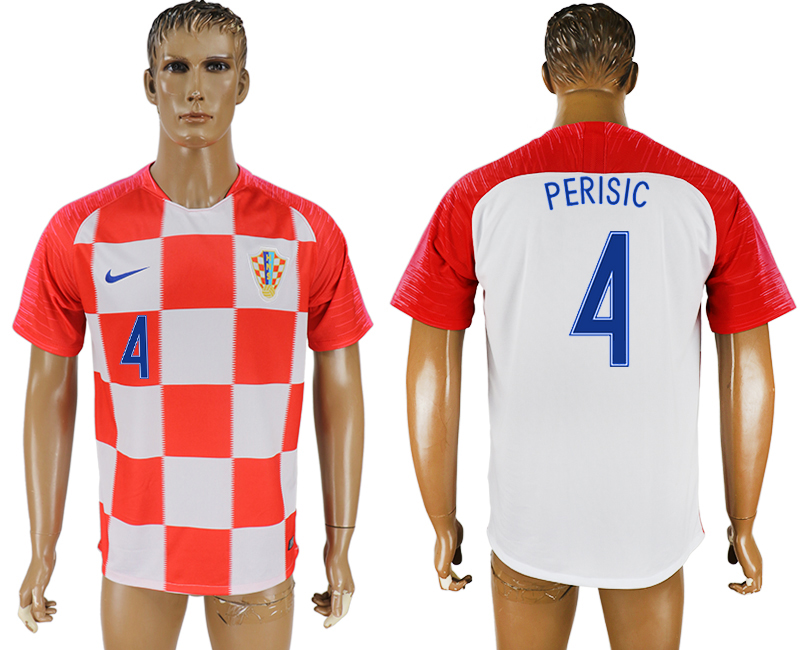 Men 2018 World Cup Croatia home aaa version 4 red soccer jersey