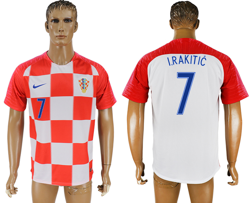 Men 2018 World Cup Croatia home aaa version 7 red soccer jersey