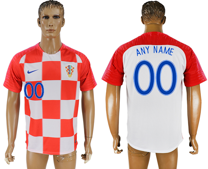 Men 2018 World Cup Croatia home aaa version customized red soccer jersey