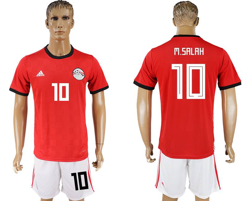 Men 2018 World Cup Egypt home 10 red soccer jersey