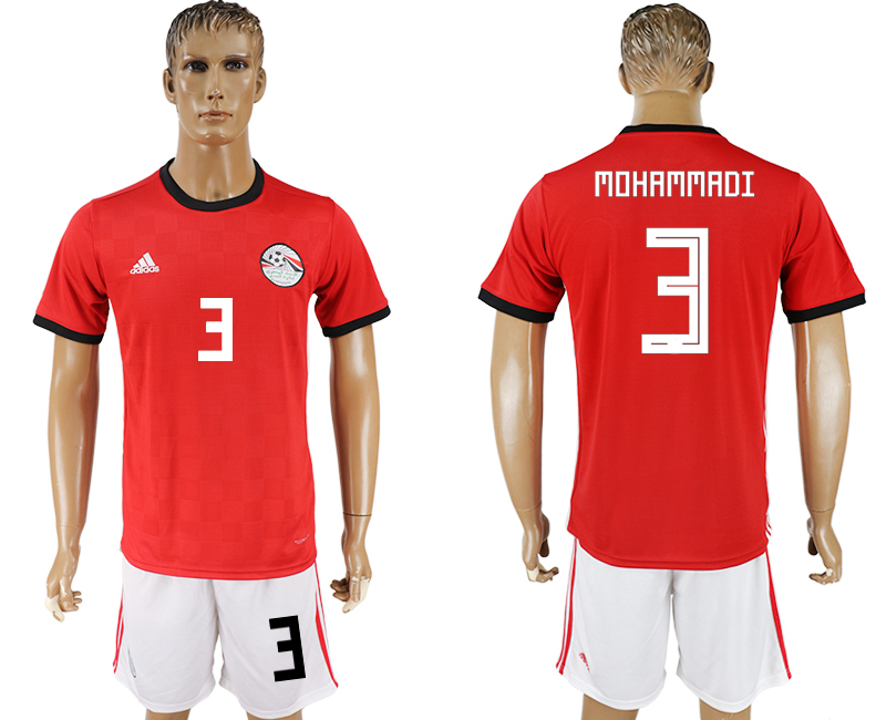 Men 2018 World Cup Egypt home 3 red soccer jersey