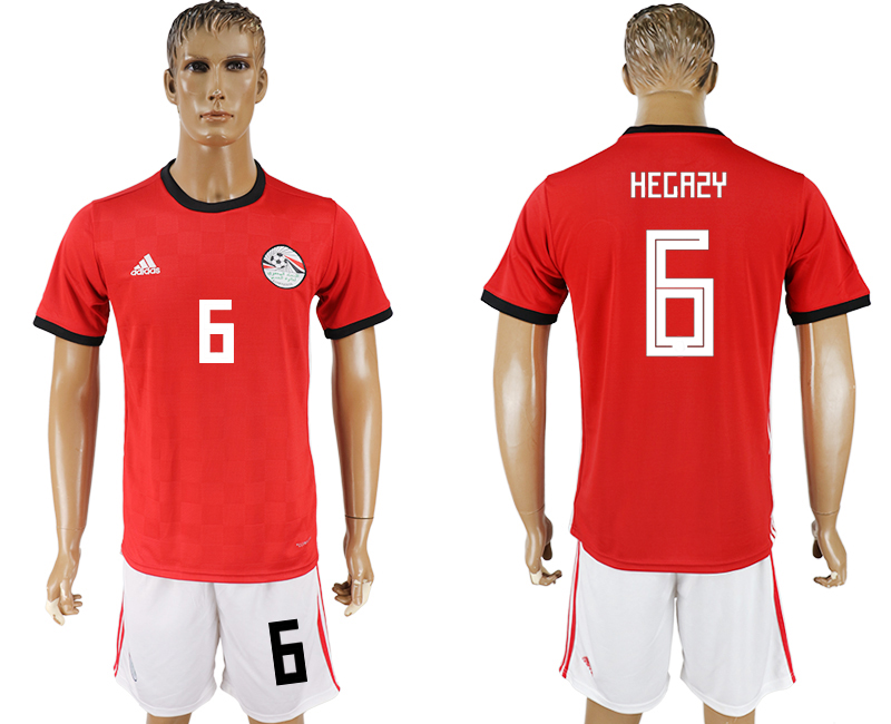 Men 2018 World Cup Egypt home 6 red soccer jersey