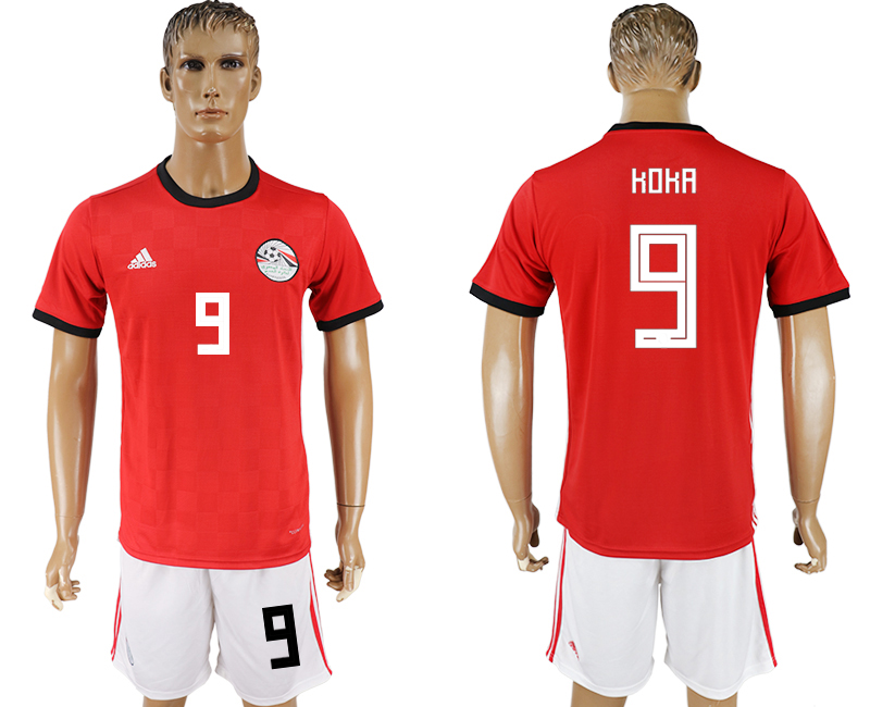 Men 2018 World Cup Egypt home 9 red soccer jersey