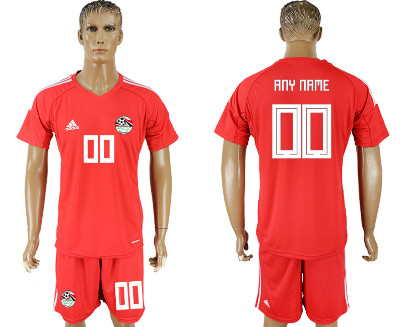 Men 2018 World Cup Egypt red goalkeeper customized soccer jersey