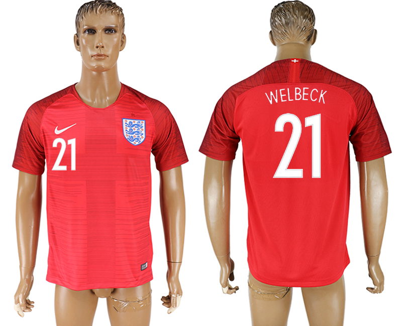 Men 2018 World Cup England away aaa version 21 red soccer jersey