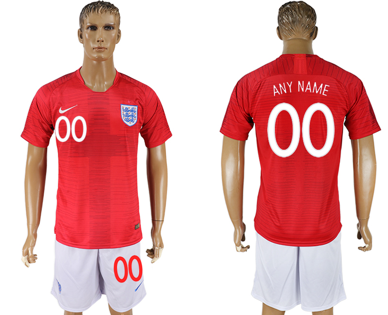 Men 2018 World Cup England away customized red soccer jersey
