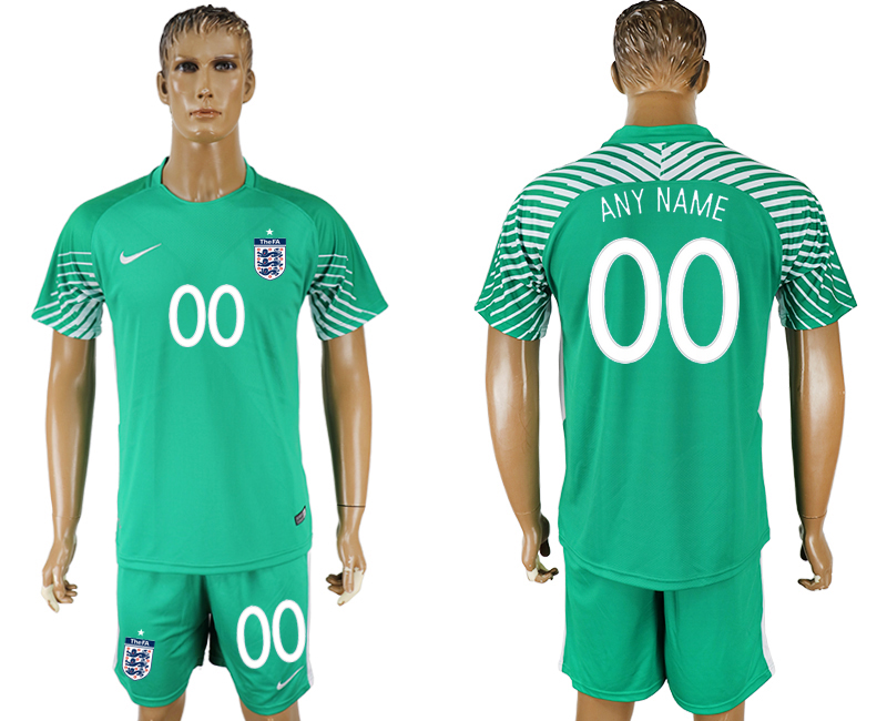 Men 2018 World Cup England green goalkeeper customized soccer jersey