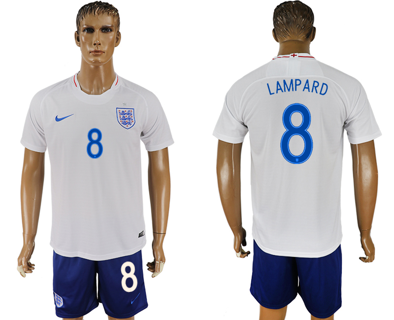 Men 2018 World Cup England home 8 white soccer jersey