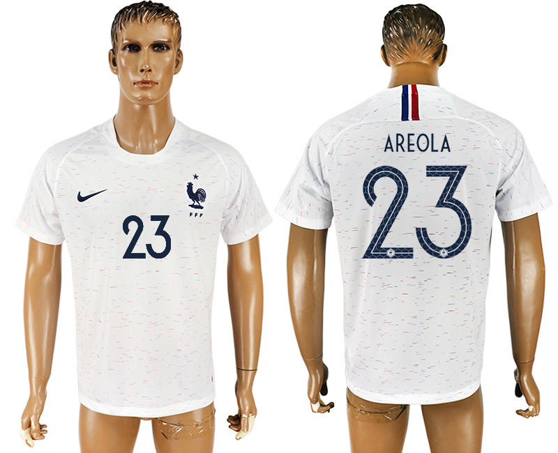 Men 2018 World Cup France away aaa version 23 white soccer jersey
