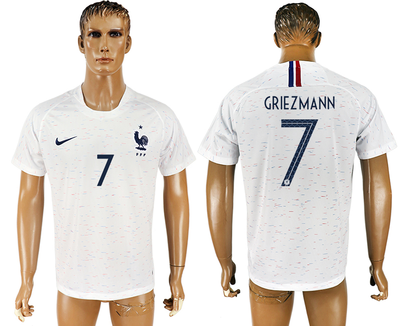 Men 2018 World Cup France away aaa version 7 white soccer jersey
