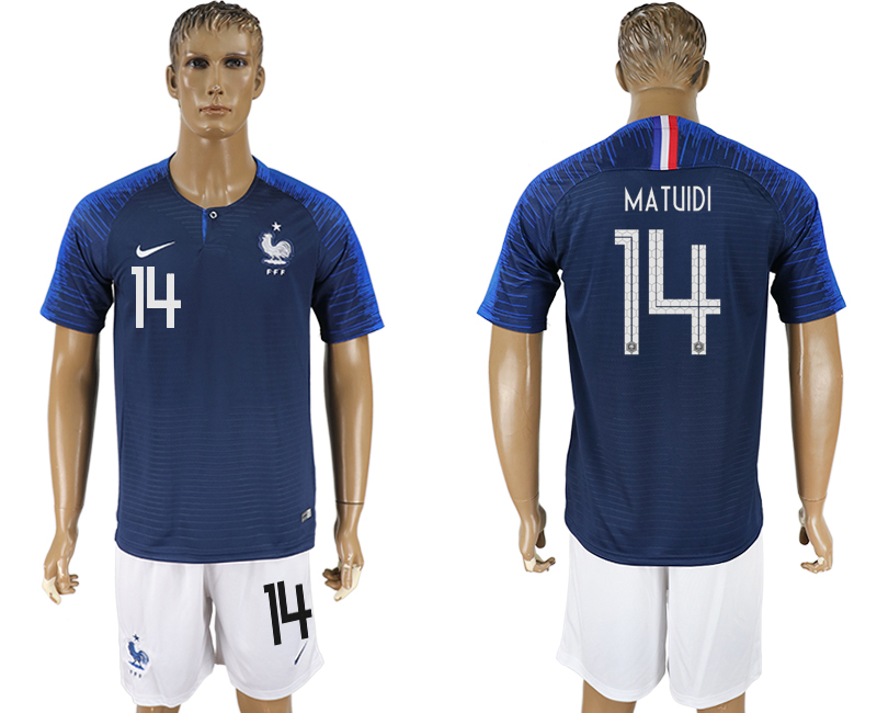 Men 2018 World Cup France home 14 blue soccer jersey