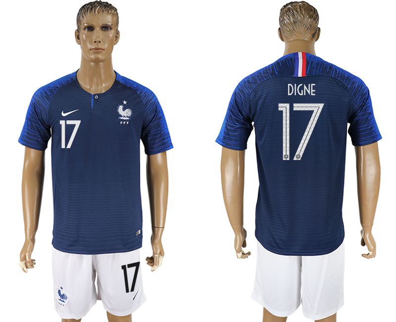 Men 2018 World Cup France home 17 blue soccer jersey