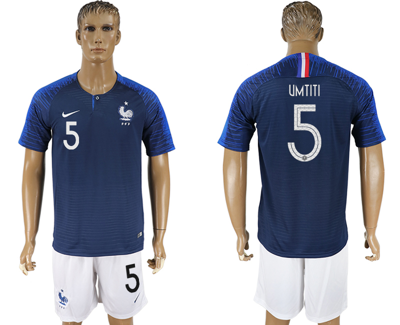 Men 2018 World Cup France home 5 blue soccer jersey