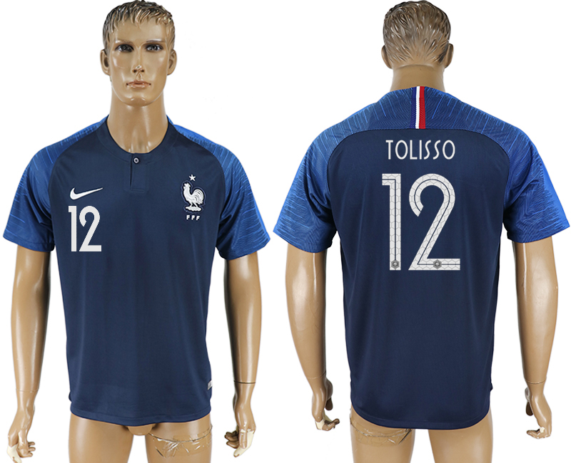 Hommes 2018 Coupe du Monde France accueil aaa version 12 bleu football maillot