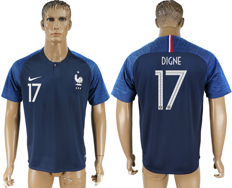 Hommes 2018 Coupe du Monde France accueil aaa version 17 bleu football maillot
