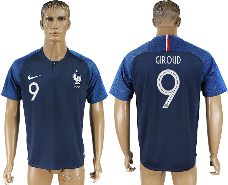 Men 2018 World Cup France home aaa version 9 blue soccer jersey