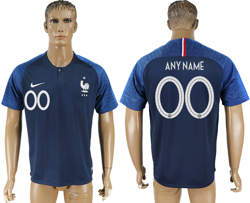 Men 2018 World Cup France home aaa version customized blue soccer jersey