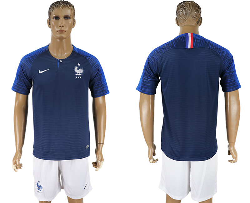 Men 2018 World Cup France home blue soccer jersey