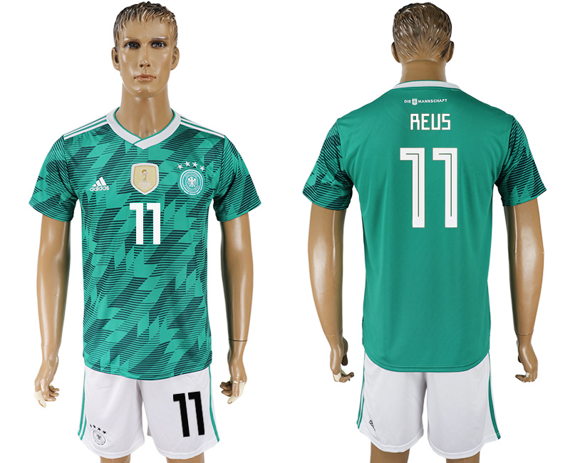 Men 2018 World Cup Germany away 11 green soccer jersey