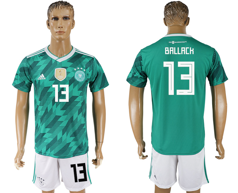 Men 2018 World Cup Germany away 13 green soccer jersey