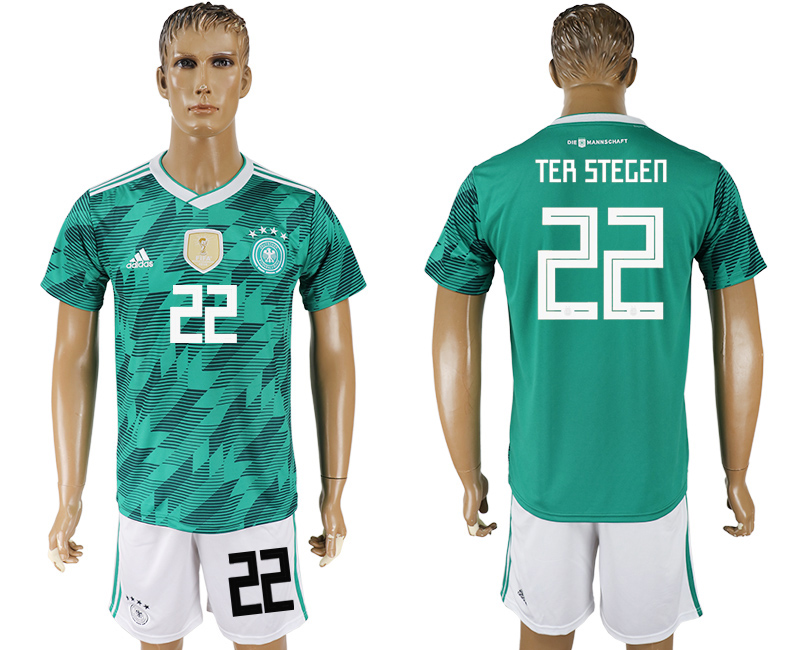 Men 2018 World Cup Germany away 22 green soccer jersey
