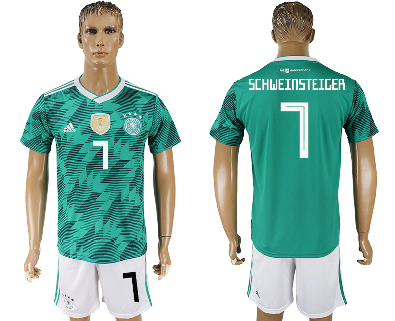 Men 2018 World Cup Germany away 7 green soccer jersey
