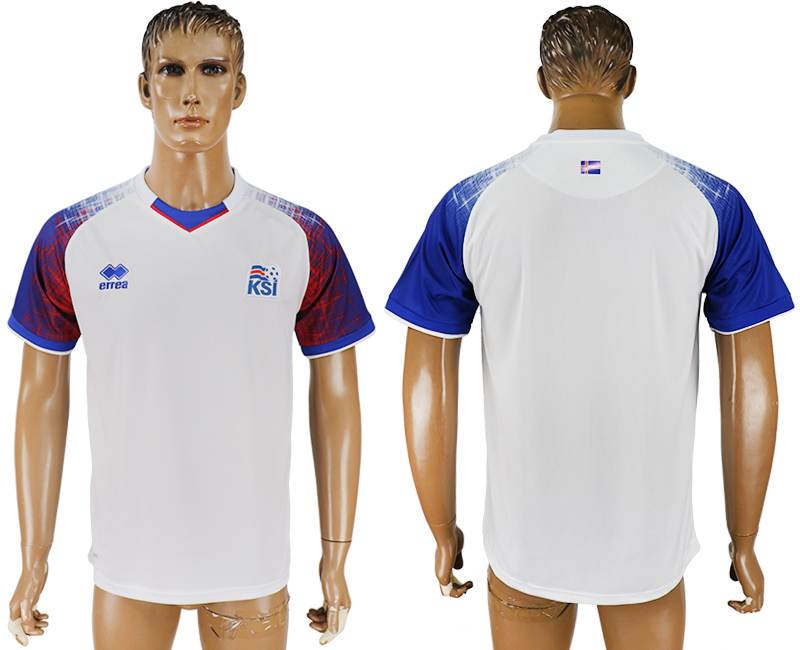 Men 2018 World Cup Iceland away aaa version white soccer jersey