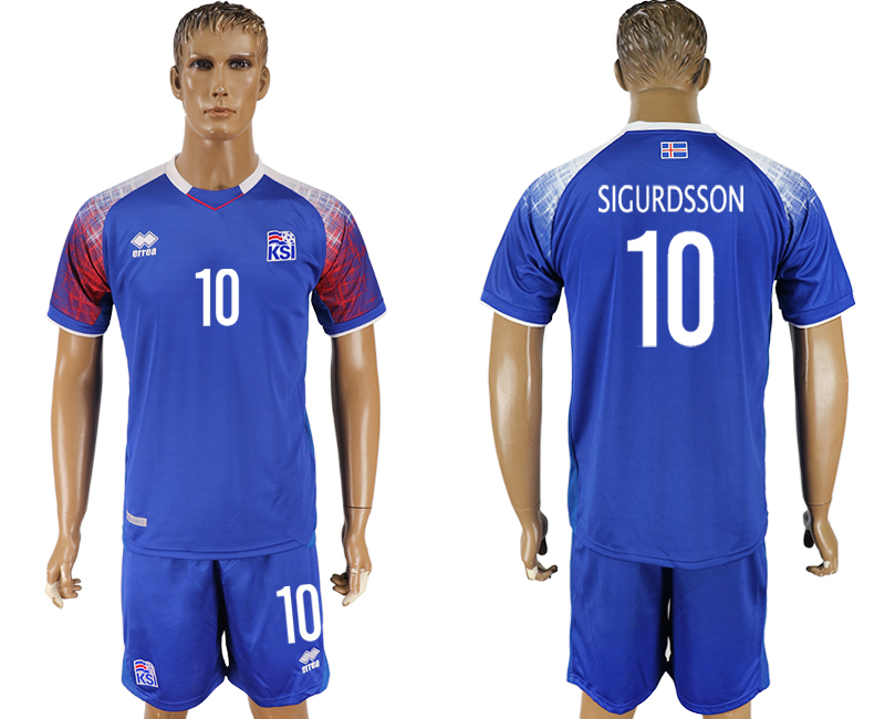 Men 2018 World Cup Iceland home 10 blue soccer jersey