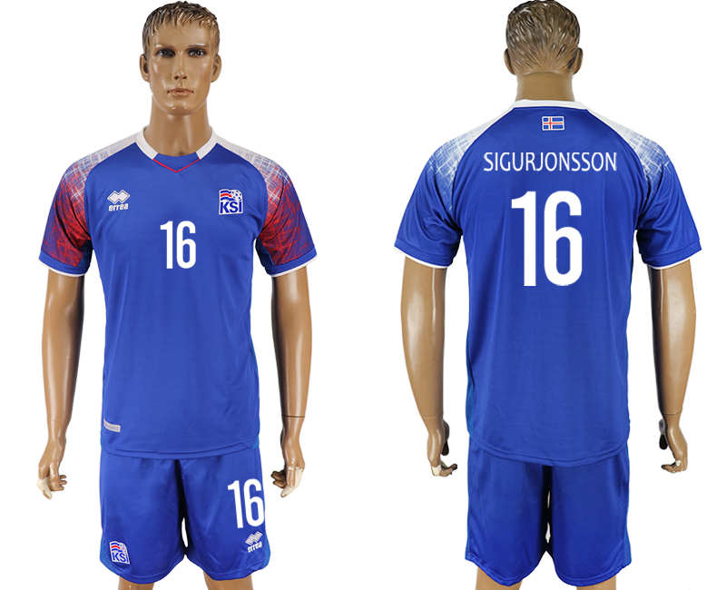 Men 2018 World Cup Iceland home 16 blue soccer jersey