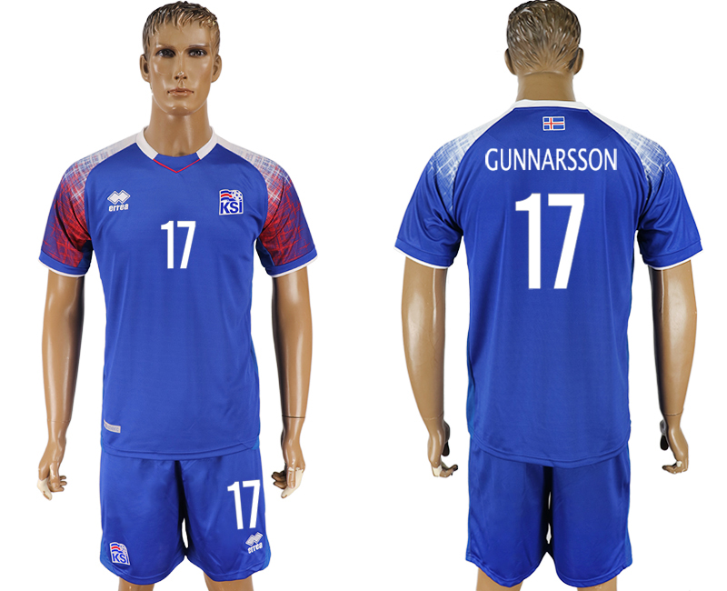 Men 2018 World Cup Iceland home 17 blue soccer jersey