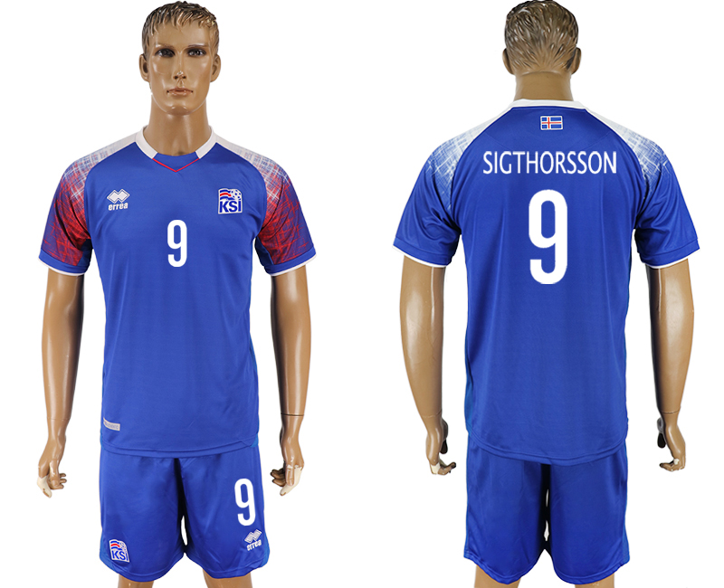 Men 2018 World Cup Iceland home 9 blue soccer jersey