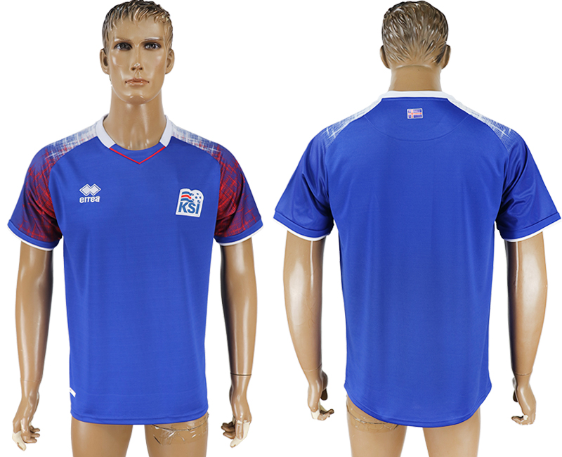 Men 2018 World Cup Iceland home aaa version blue soccer jersey