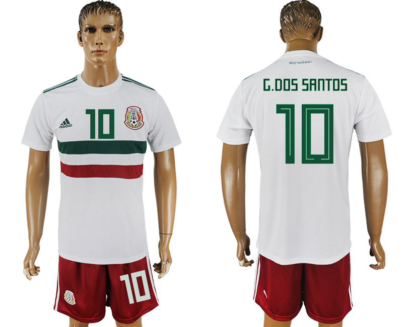 Men 2018 World Cup Mexico away 10 white soccer jersey