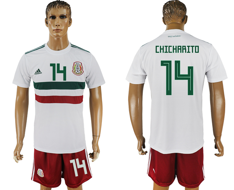 Men 2018 World Cup Mexico away 14 white soccer jersey