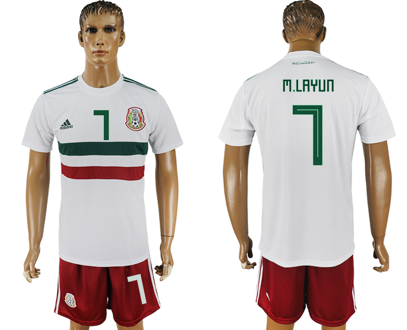 Men 2018 World Cup Mexico away 7 white soccer jersey