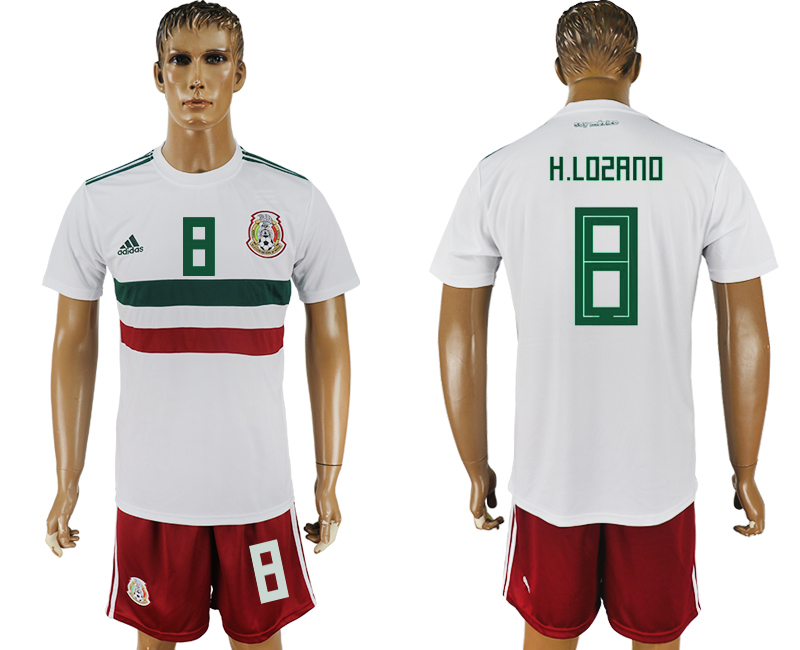 Men 2018 World Cup Mexico away 8 white soccer jersey
