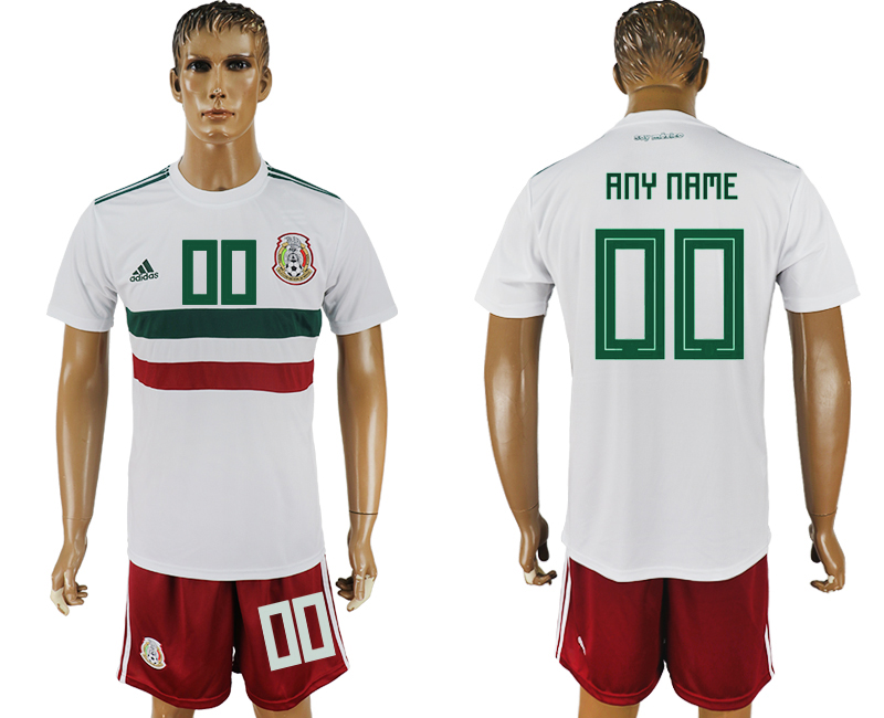 Men 2018 World Cup Mexico away customized white soccer jersey