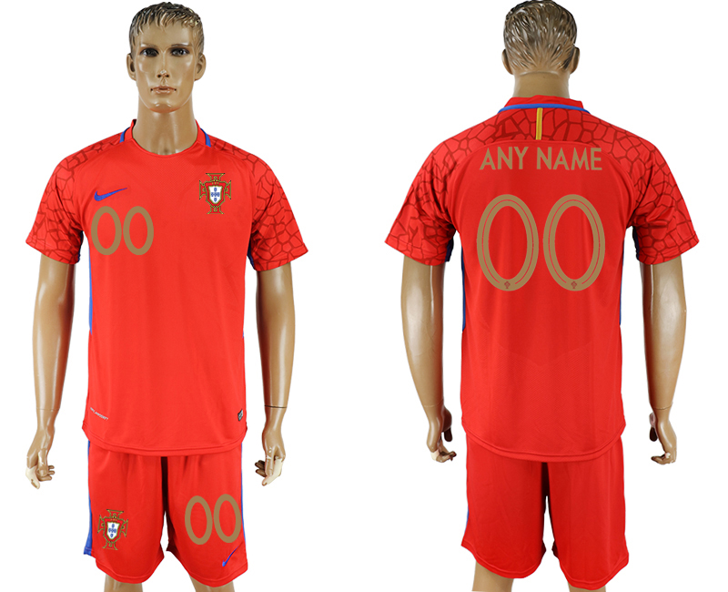 Men 2018 World Cup Portuga red goalkeeper customized occer jersey
