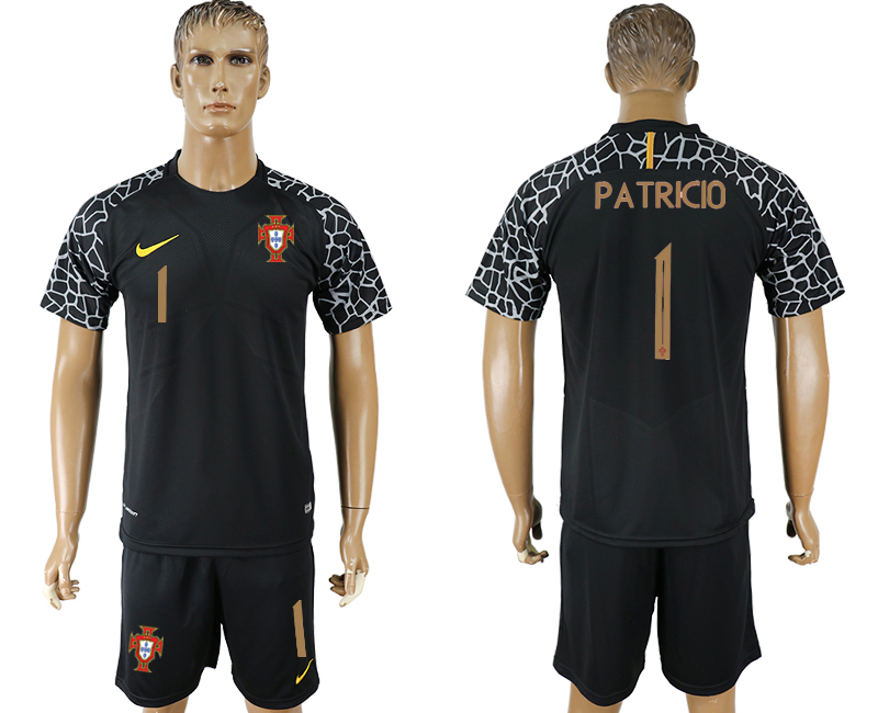 Men 2018 World Cup Portugal black goalkeeper 1 soccer jersey