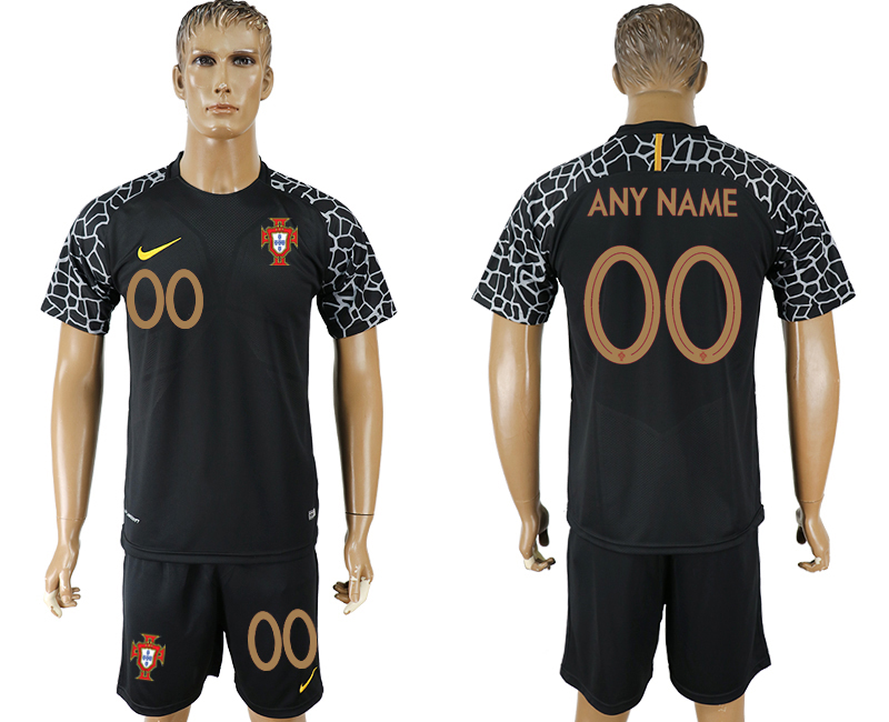 Men 2018 World Cup Portugal black goalkeeper customized soccer jersey